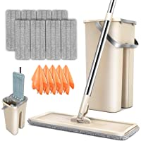 Mop Bucket System 360° Rotating Head Squeeze Flat Mop with 8pcs Microfiber Replacement Mop Pads Mop Set for Hardwood…