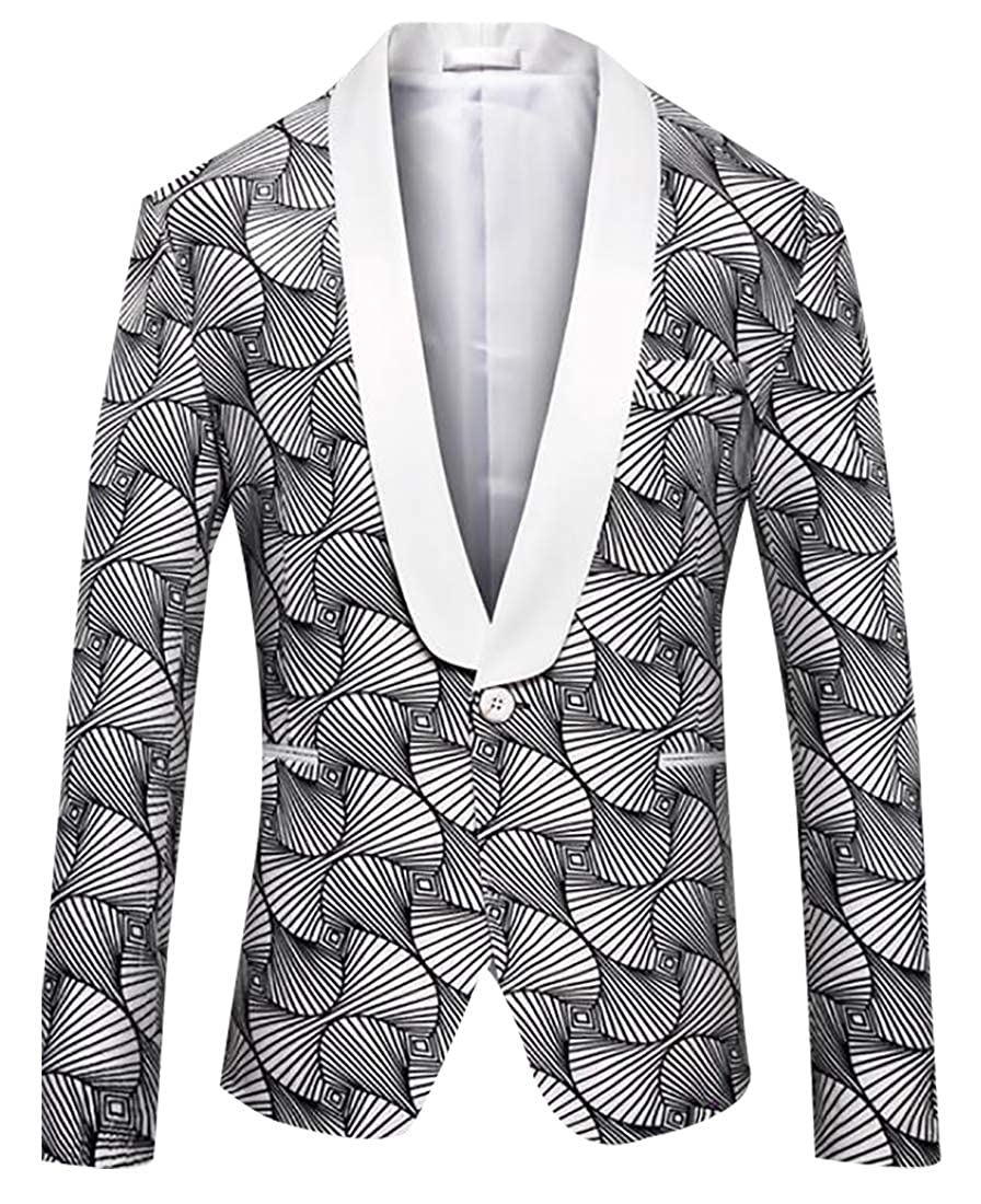 Alion Mens Fashion Floral Suit Jacket Blazer Weddings Prom Party Dinner Tuxedo