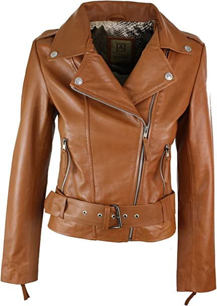 Da Donna Biker Giacca In Similpelle Con Cintura Giacca di Pelle Donna Giacca Vintage Style
