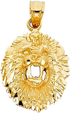 14k Yellow Gold Lion Pendant