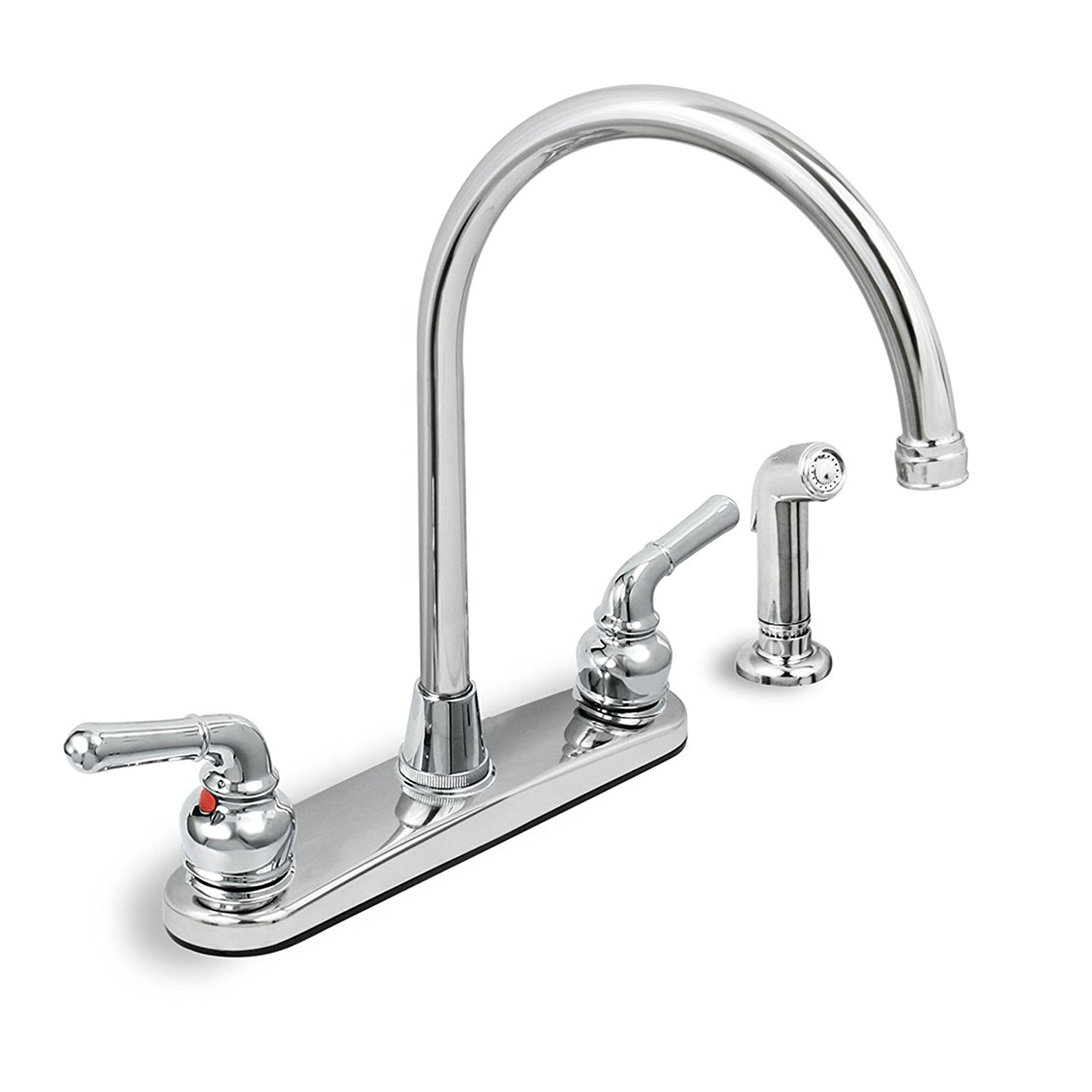 Everflow 17188 Kitchen Faucet with Spray, High Arc Swivel Spout, Chrome Plated Finish, Lead-Free Construction, Pull Out Side Spray Hose, 2 Easy to Operate Metal Handle 2.2 GPM Flow Rate Easy to Use by Everflow Supplies