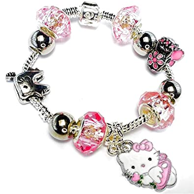 ff42dbd2f ... Charm Buddy Girls Pink Hello Kitty Tooth Fairy Pandora Style Charm  Bracelet With Beads And ...