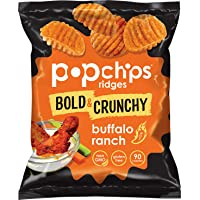 Popchips Ridges Buffalo Ranch Potato Chips Single Serve 0.7 oz Bags (Pack of 24)