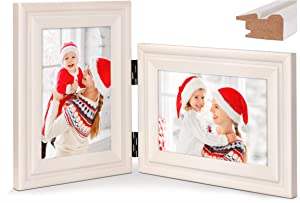 Vertical Horizontal Combo, Double 4x6 White Wood Hinged Picture Frame, Desktop or Wall Mounted, Portrait and Landscape View (Glass Front Photo)
