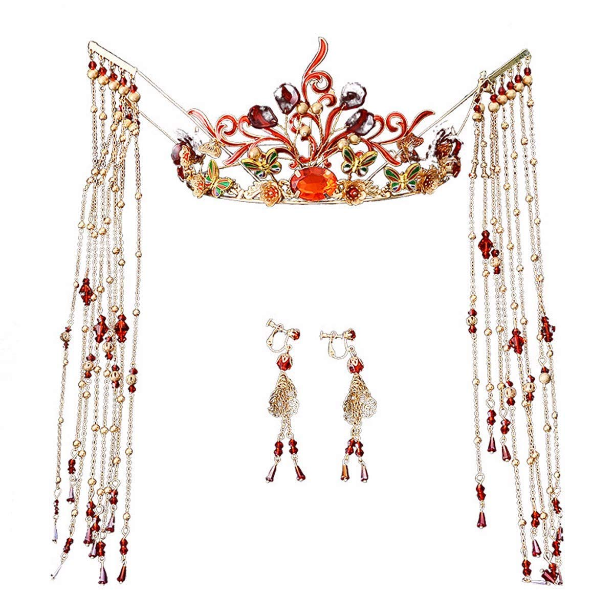 Wedding Crown, Beautiful headdress/Chinese Brides Headgear Costume Wedding Antique Chinese Clothes Fringes Xiu Wo Dress Hairpin.