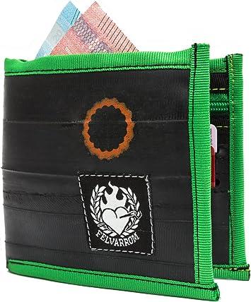Billetera Vegetariana para Hombres Verdes | Billetera con Cremallera Bifold | del Tubo Interior Reciclado de la Bicicleta | Verde Manzana: Amazon.es: Equipaje