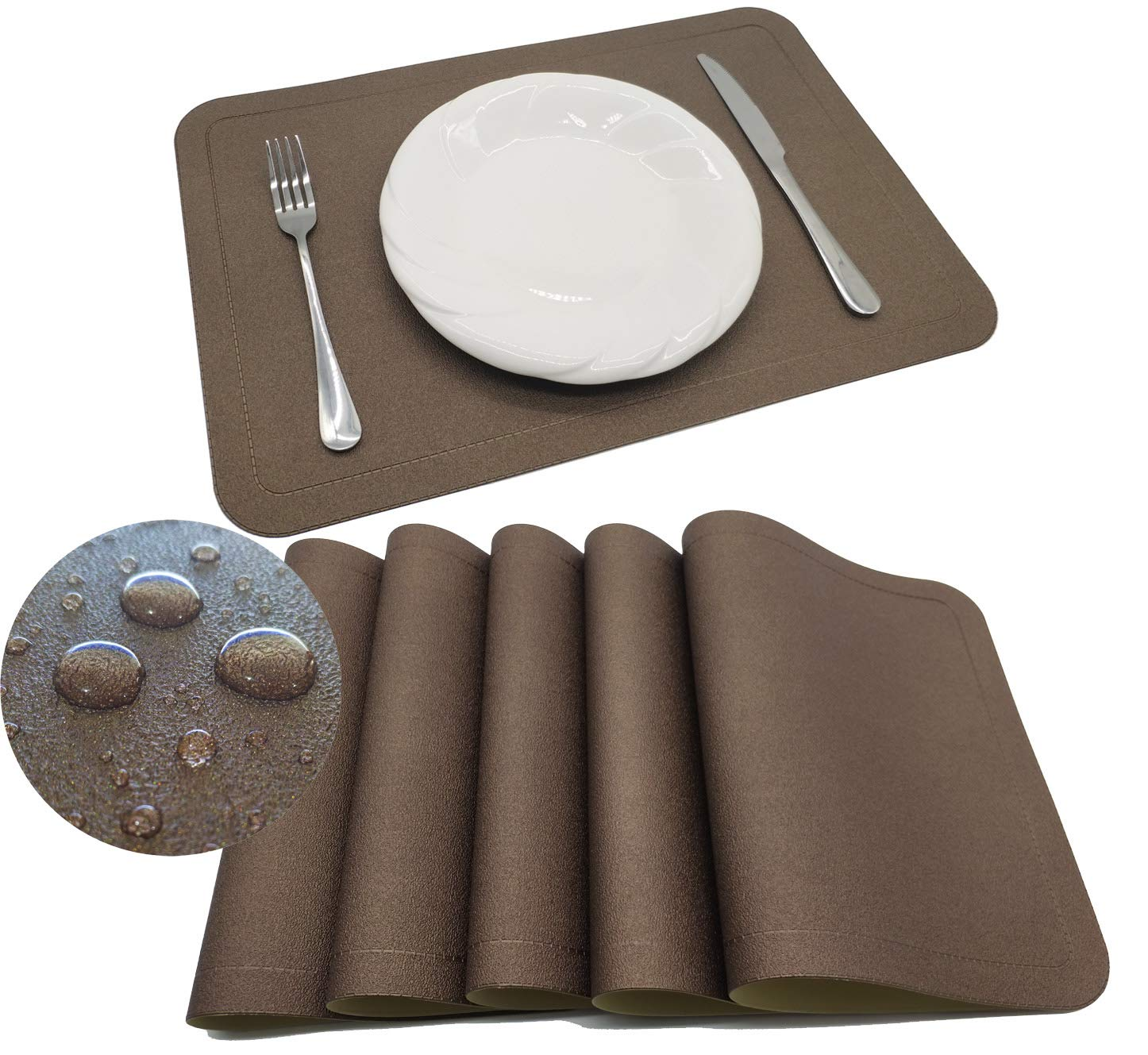 Tennove Placemats Set of 6, PU Leather Table Mats Stain Resistant Washable Placemats for Kitchen Dining Table (PU-Brown)