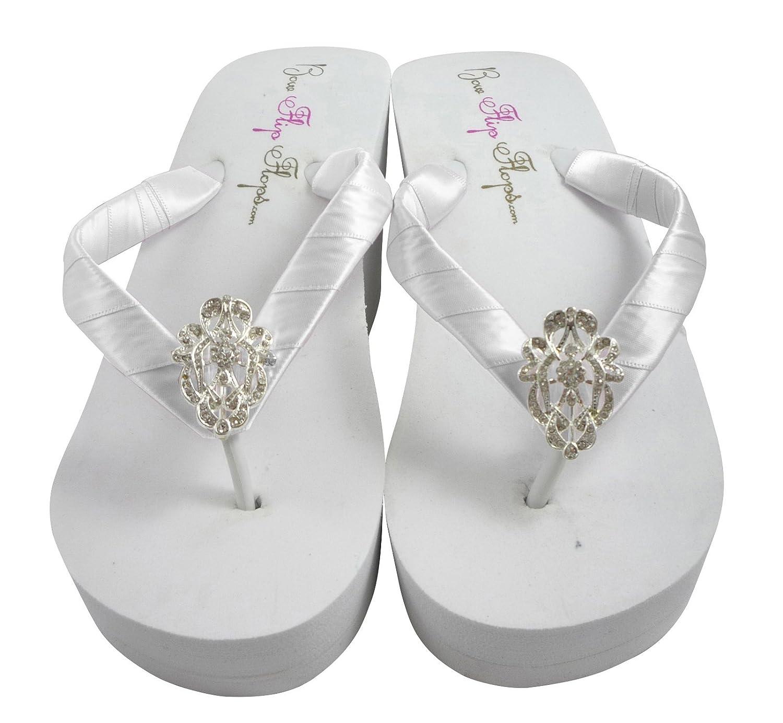 Bridal Wedding Flip Flops with Lace Rhinestone Embellishment