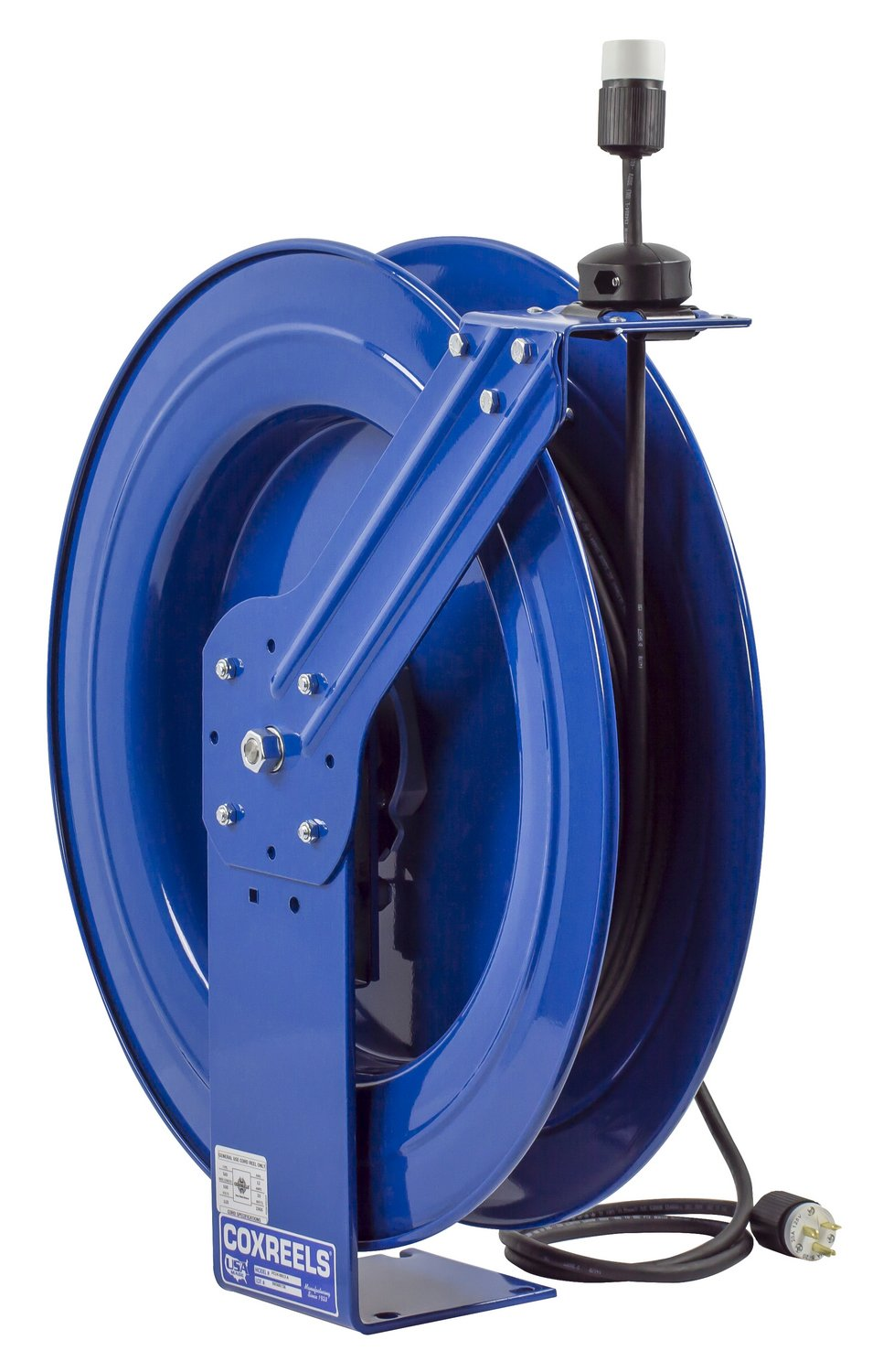 Coxreels PC24-0012-A Power Cord Spring Rewind Reels: Single Industrial Receptacle, 100' cord, 12 AWG