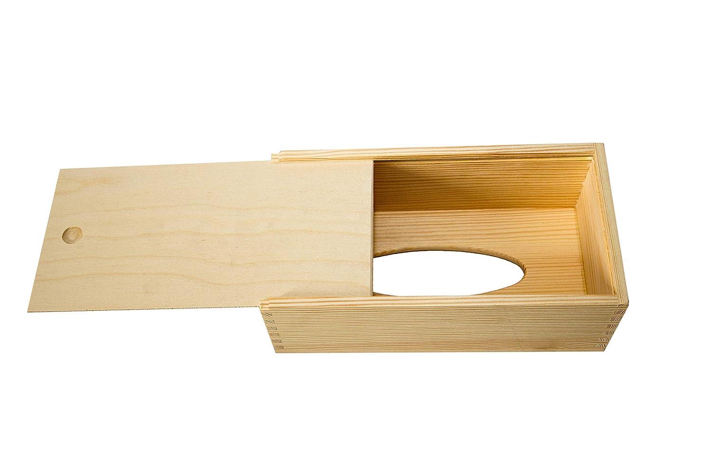 adaptada para todo tipo de cajas fabricada en Francia con trampilla pr/áctica deslizante para recargar r/ápidamente. Caja de pa/ñuelos y toallitas decorativa en madera de abeto