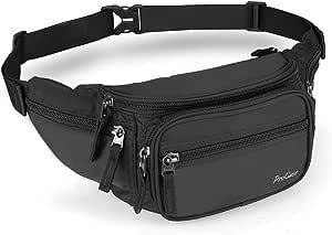 ProCase Fanny Pack Waist Packs for Men Women, Large Capacity Waist Bag Hip Pack for Travel Hiking Running Outdoor Sports-Black