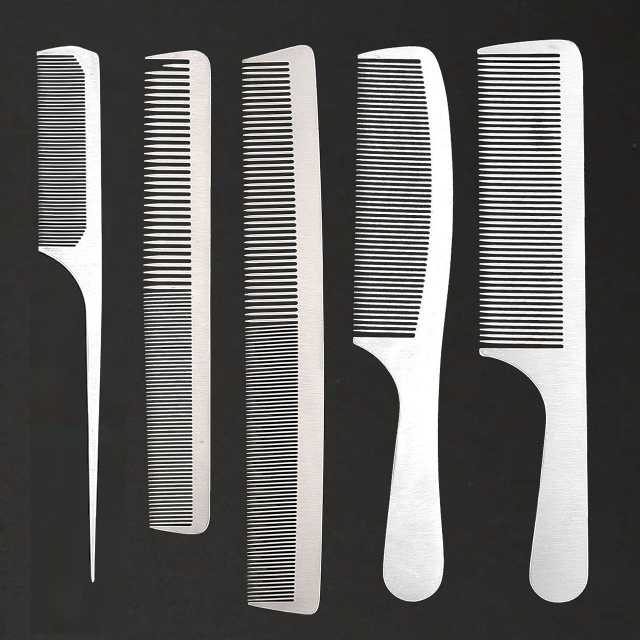 CCbeauty 5-Packs Metal Barber Comb Set Pack for Men & Women,Professional Hairdressing Salon Combs Hair cutting Tool Detangler Comb with Leather Bag by CCbeauty
