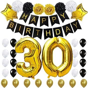 KUNGYO 30 Decoración para Fiestas de Cumpleaños- Happy Birthday Pancarta Negro, 40 Pulgadas Globo de Oro 30
