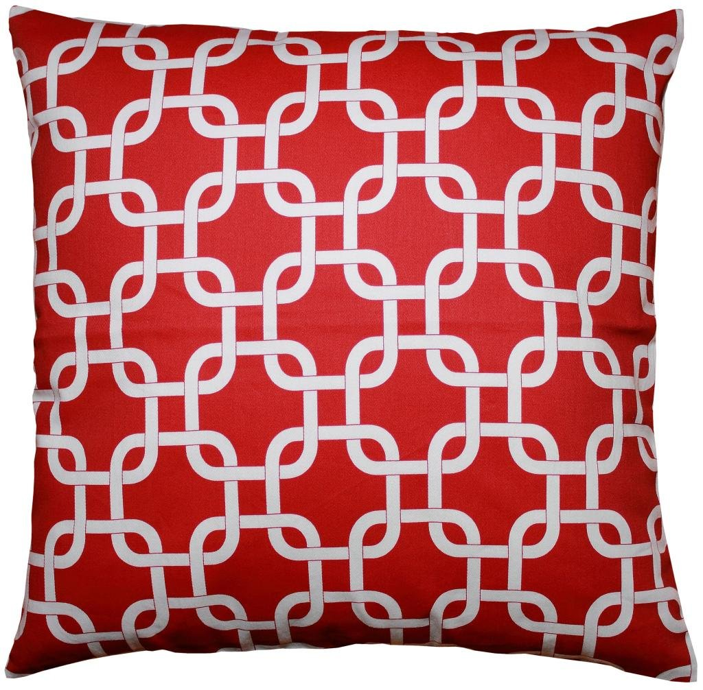 JinStyles Cotton Canvas Trellis Chain Accent Decorative Throw Pillow Cover (Christmas Red & White, Square, 1 Cushion Sham for 18 x 18 Inserts)
