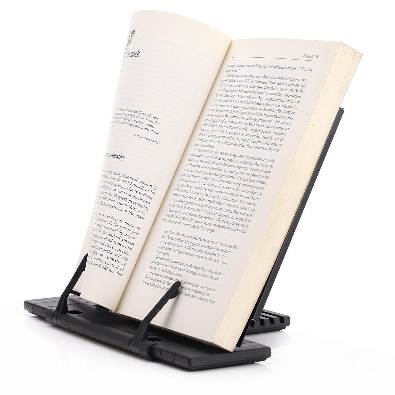 E-lishine Portable Steel Book Stand Frame Reading Desk Holder with 7 Tilt Adjustable Grooves,iPad/Cookbook / Music / Document stand holder,Black
