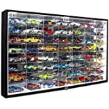 JackCubeDesign Hot Wheels 1/64 Scale Diecast Display Case Storage Cabinet Shelf Wall Mount Rack for 56 Hot Wheels(Black, 62.5 x 35 x 5.2 cm)-MK184