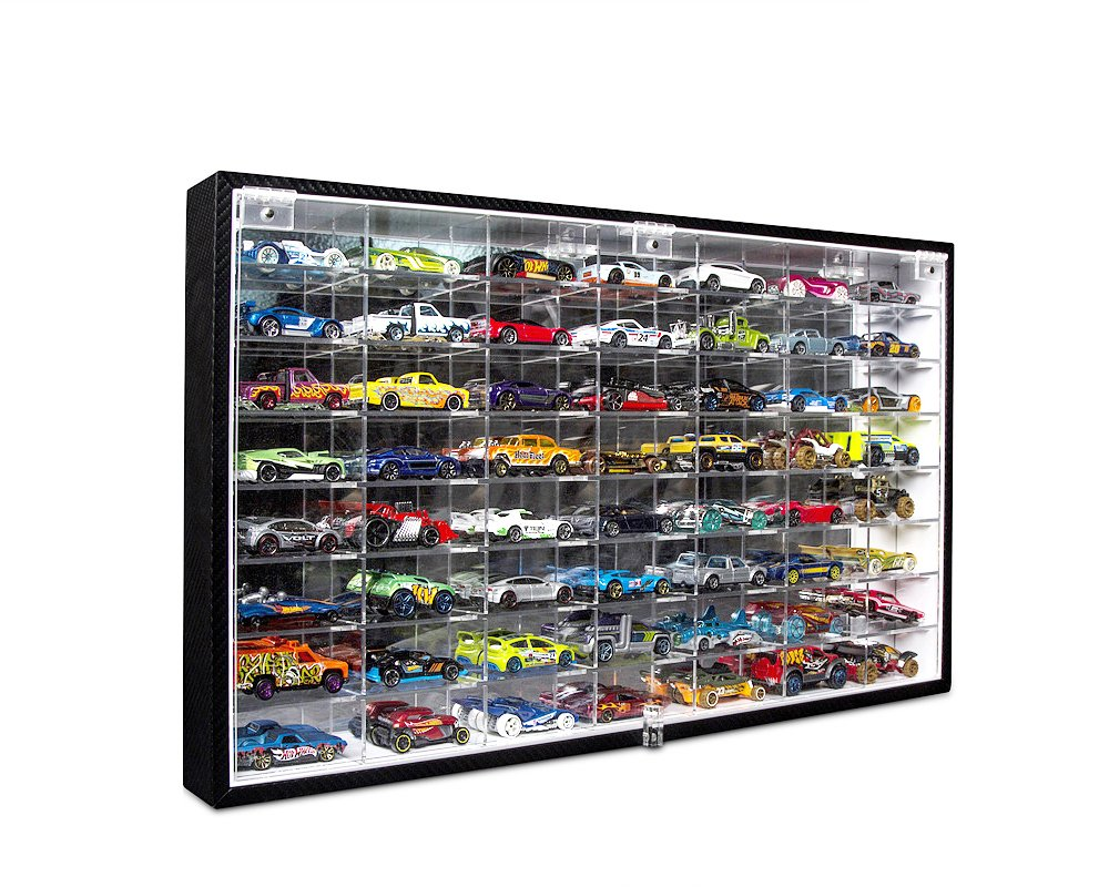 JackCubeDesign Hot Wheels 1/64 Scale Diecast Display Case Storage Cabinet Shelf Wall Mount Rack for 56 Hot Wheels(Black  24.61 x 13.78 x 2.05 inches)-MK184