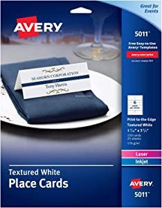 AVERY Small Place Cards, Laser & Inkjet Printers, 150 Printable Cards, Textured (5011), White, 150 Cards