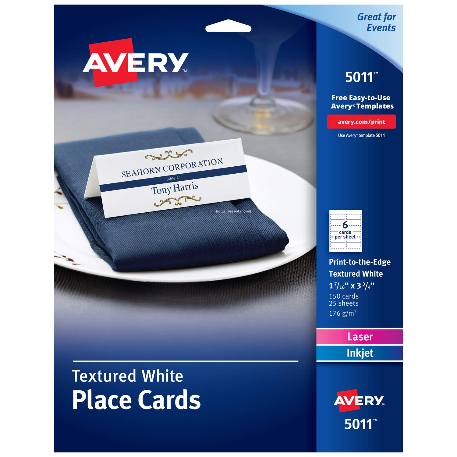 Avery Small Place Cards, Laser & Inkjet Printers, 150 Printable Cards, Textured (5011) by AVERY