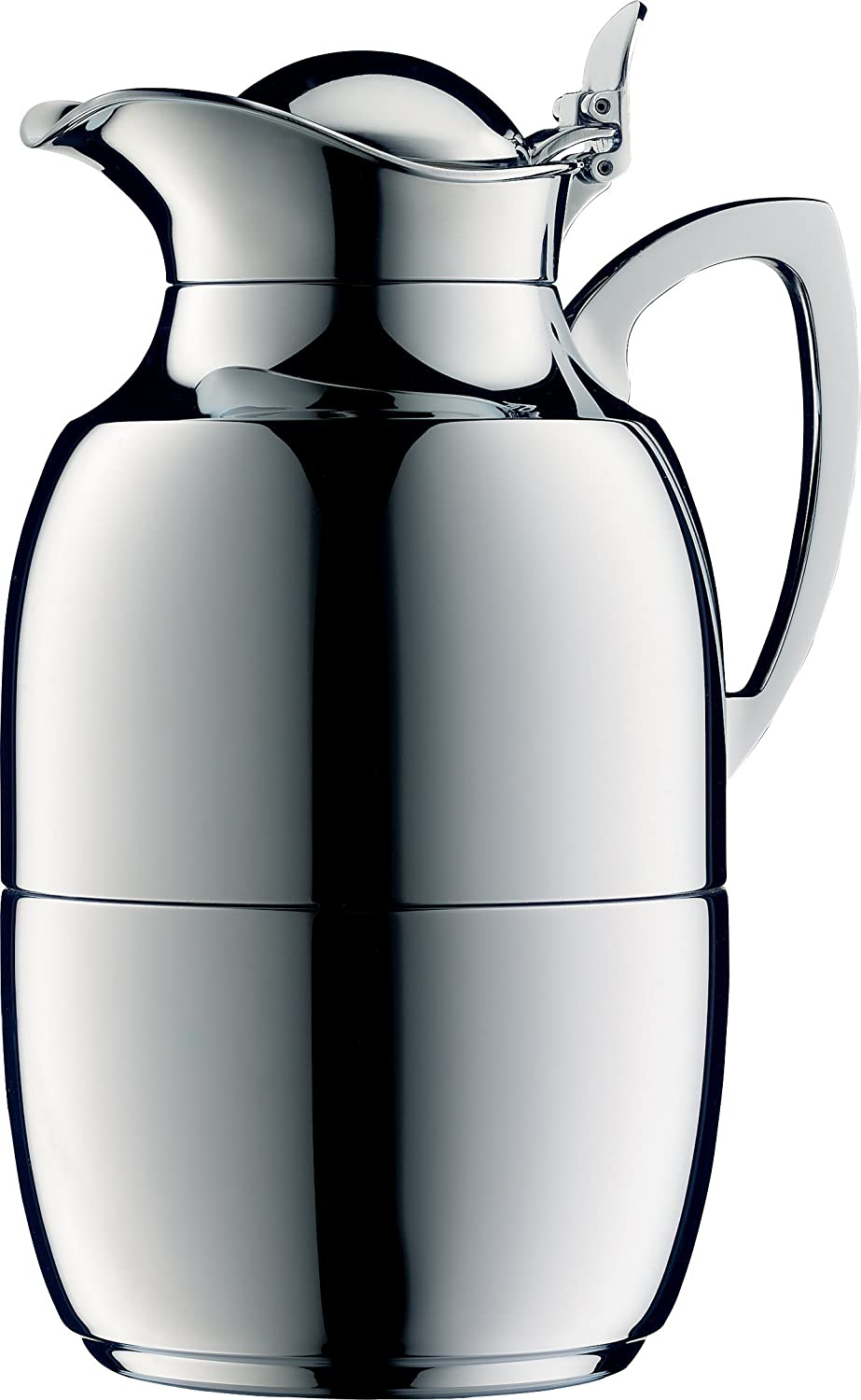 alfi Juwel Glass Vacuum Chrome Plated Brass Thermal Carafe for heiß and Cold Beverages, 1.0 L, Chrome