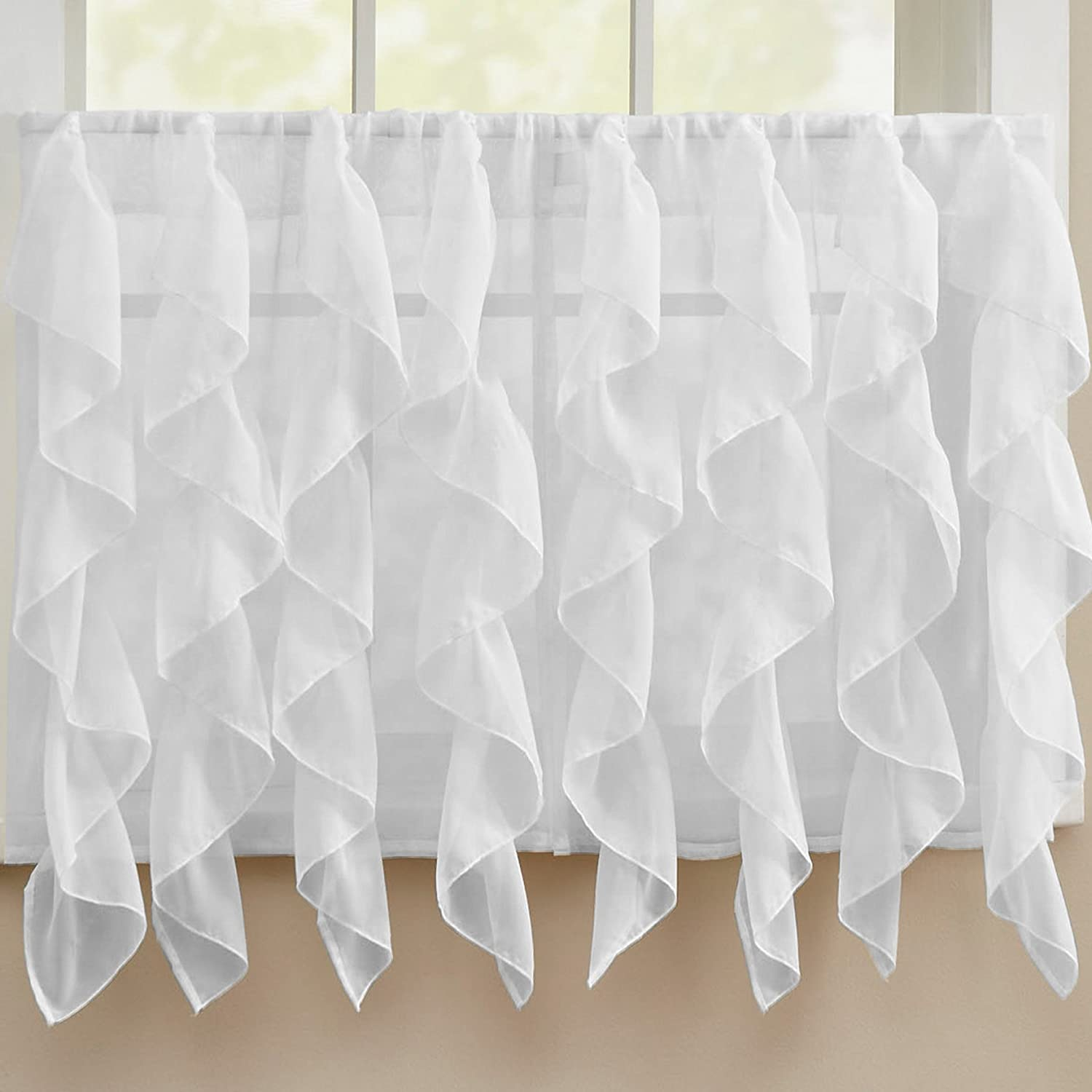 """Sweet Home Collection Kitchen Window Tier, Swag, or Valance Curtain Treatment in Stylish and Unique Patterns and Designs for All Home Décor, 36"""", Sheer White"""