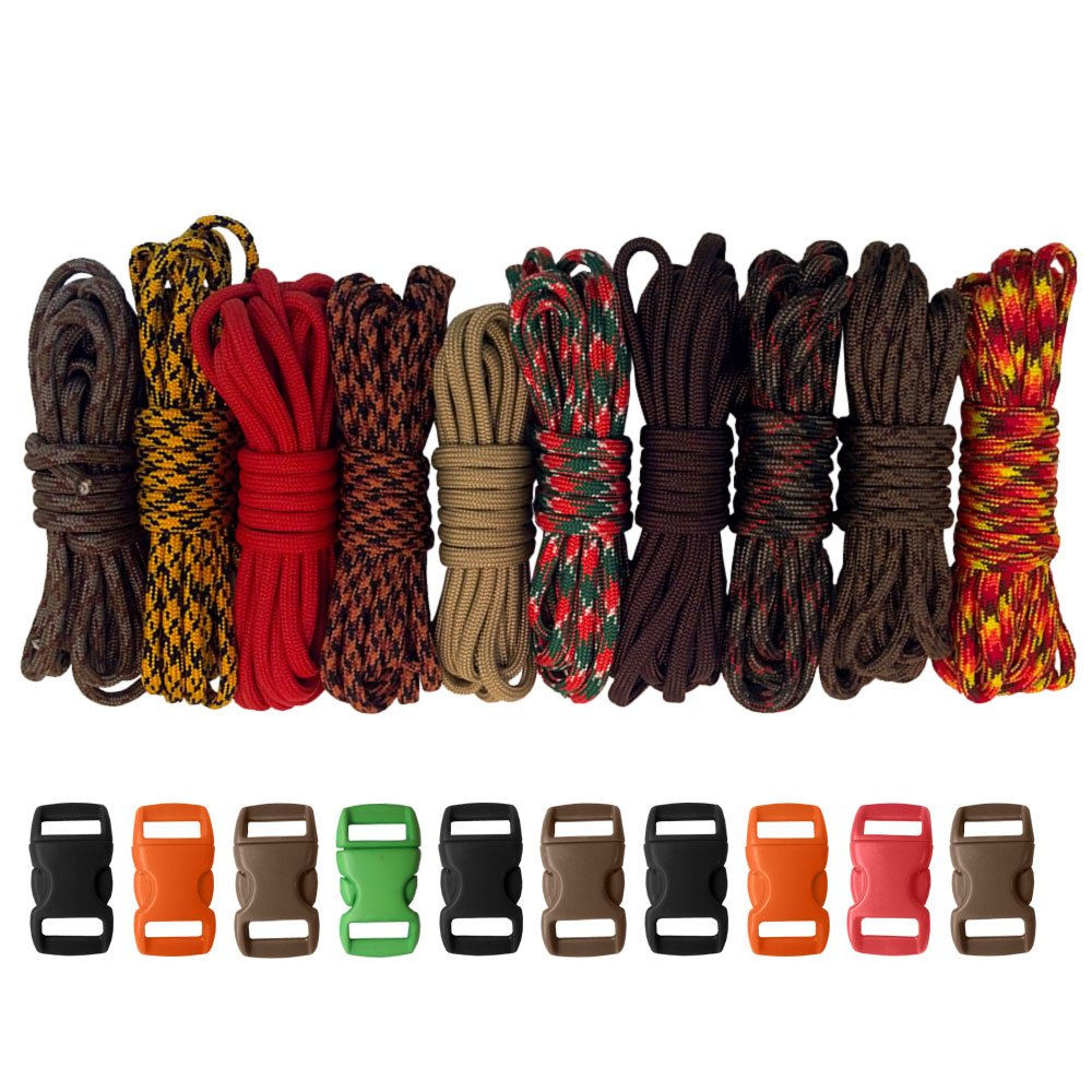 PARACORD PLANET 550lb Type III Paracord Combo Crafting Kits with Buckles (Autumn)
