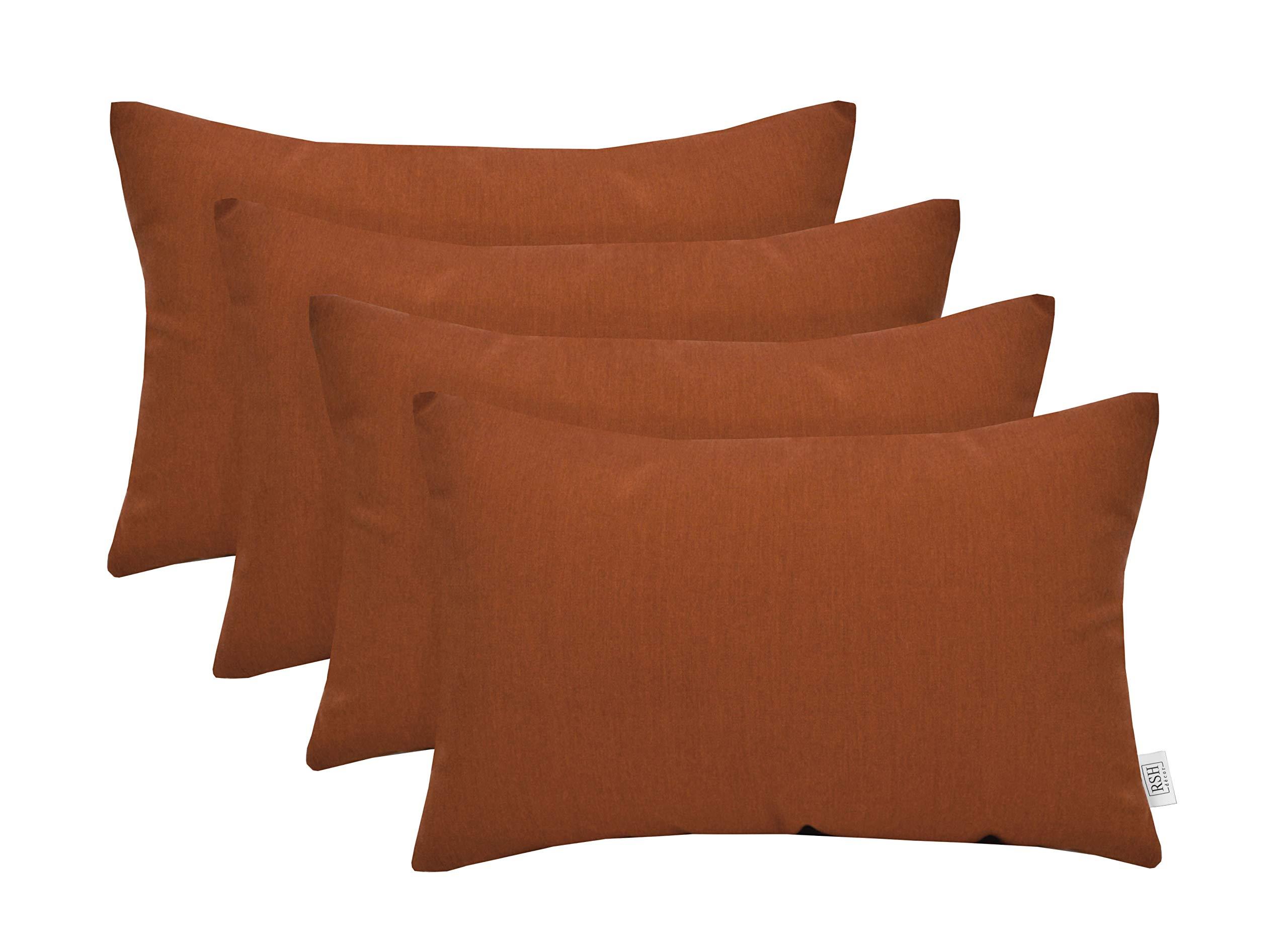RSH Décor Set of 4 Indoor Outdoor Decorative Rectangle Jumbo (26'' x 16'') Lumbar Throw Pillows Sunbrella Canvas Rust