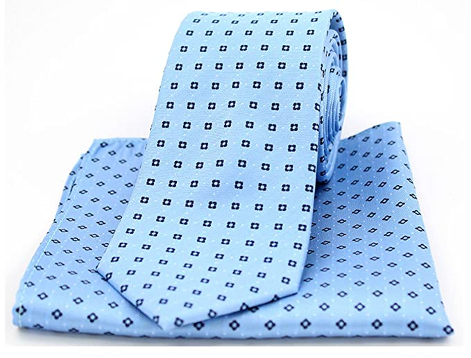 1f6af07bbe31 Soprano Neat Navy Box Pattern on Light Blue Silk Tie and Pocket Square:  Amazon.co.uk: Clothing