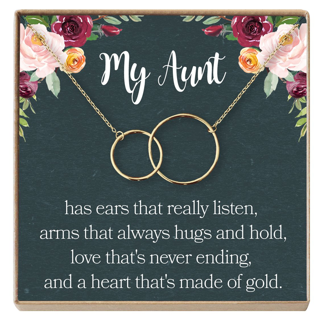 Dear Ava Aunt Necklace: Auntie, Aunt Gift, Aunt Charm, Aunt Jewelry, New Aunt, Best Auntie Ever, My Aunt Loves Me, 2 Interlocking Circles (gold-plated-brass, NA)