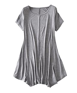 newrong Women's T-Shirt Loose Dress with Irregular Hem XS Dark Gray