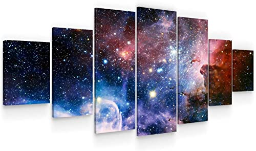 Startonight Huge Canvas Wall Art – Awesome Space ll Large Framed Set of 7 40 x 95 Inches