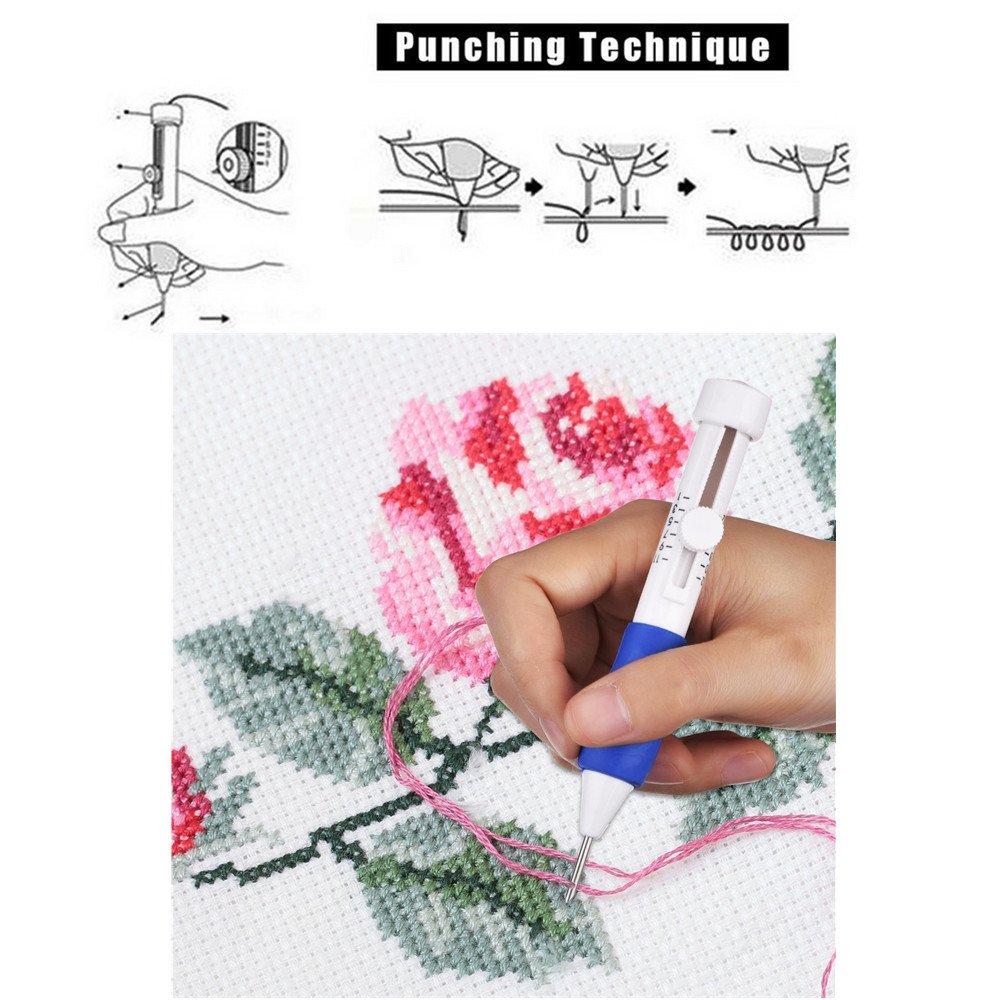 Aguja para bordado - libre rosa bordado Punch Pen Set, patrones de ...