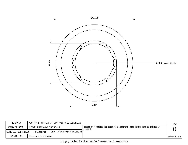 Allied Titanium 0016652, 1//4-20 X 1 UNC Socket Head Titanium Machine Screw Ti-6Al-4V Pack of 8 Grade 5