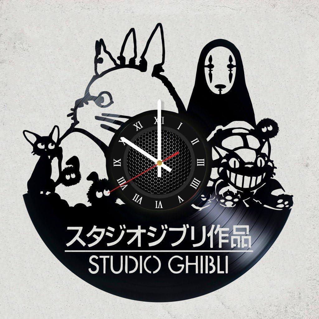 Studio Ghibli Vinyl Record Vintage Gift for Men Women Kids Room Home Kitchen Decor Handmade Accessory Decoration Theme Party Supplies Item Studio Ghibli Art Wall Clock