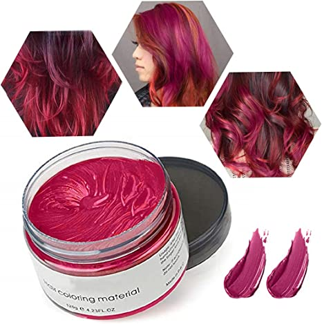 Cera de Color Para el Cabello, Tinte de Cabello Temporal Mujer y Hombre, Cera Pelo DIY, Fórmula Planta Lavable Cera de Peinado Natural Mate 4.23 OZ - ...
