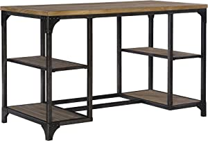 Powell Furniture Benjamin Metal Base Desk, Driftwood,