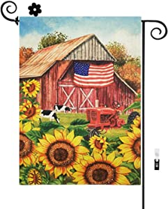 HILUCK Patriotic Yard Garden Flags with Old Truck Cows Sunflower, Rural Style With America National Flags, Vertical Double Sided Decorative Banners Decor for Patio Lawn and Backyard, 12 x 18 Inch