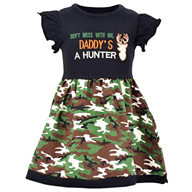 a03204a98 Amazon.com: Unique Baby Girls My Dad Hunts Camo Father's Day Dress ...