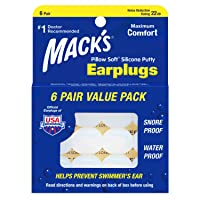 Mack's Pillow Soft Silicone Earplugs - 6 Pair, Value Pack – The Original Moldable...