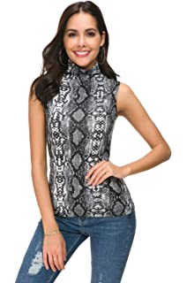 2985207e48db7e APRLL Women Sleeveless Mock Turtle Neck Knit Pullover Sweater Shirt Solid Blouse  Tank Tops