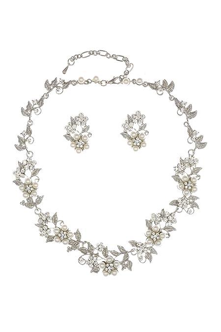6f7422411f Amazon.com: SAMKY Flower Leaf Bridal Prom Pearl Crystal Choker Necklace  Earrings Set N336: Jewelry