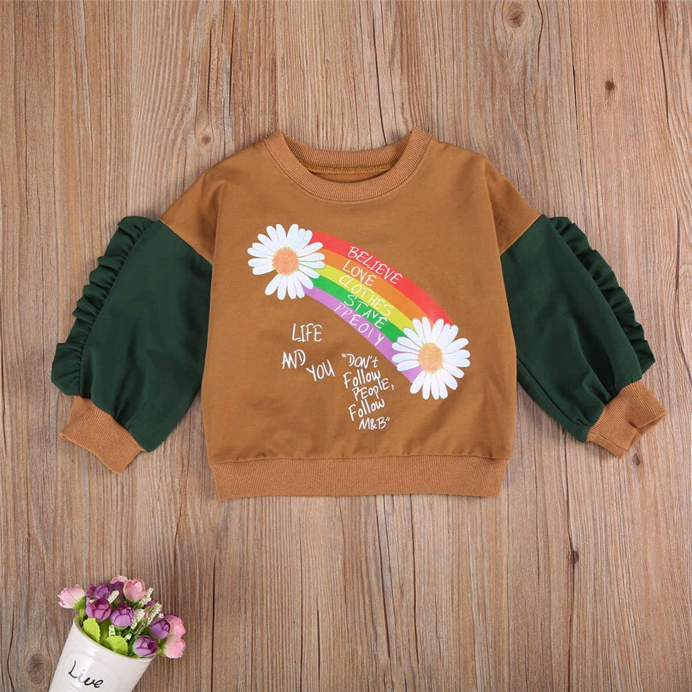 Toddler Baby Crewneck Sweatshirt Girl Boy Fall Long Sleeve Rainbow Floral Polka Dot Pullover Hoodie Sweater Outfit
