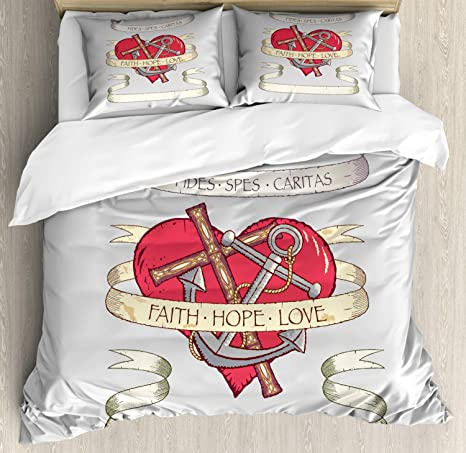 Amazon Com Ambesonne Hope Duvet Cover Set Antique Anchor And On Heart Motif With Faith Hope Love Words Decorative 3 Piece Bedding Set With 2 Pillow Shams King Size Beige Grey And Ruby