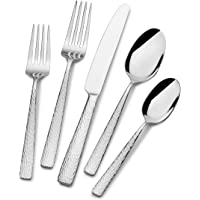 Mikasa Oliver Gleam 65-Piece 18/10 Stainless Steel Flatware Set with Serving Utensils, Service for 12, Silver