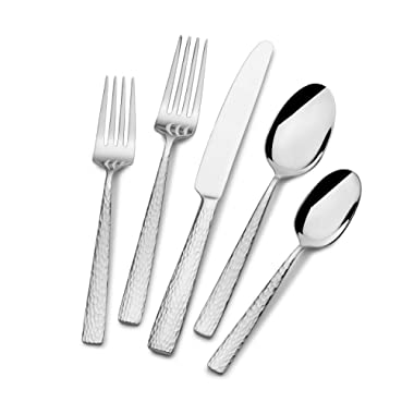 Mikasa 5236428 Oliver Gleam 65-Piece 18/10 Stainless Steel Flatware Set with Serving Utensils, Service for 12, Silver