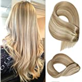 Remy Clip in Hair Extensions Ash Blonde to Bleach Blonde Highlights Straight Human Hair Extensions 7 Pieces 70 Gram…