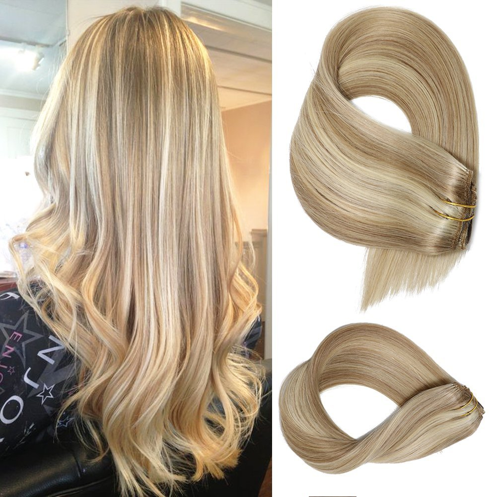 Clip in Extensions Human hair With Beige Blonde Highlights 7 Pieces 70g Per Set 15 18 20 22 inch Silky Straight Weft Remy Hair (15 Inches, #18-613) by Labetti