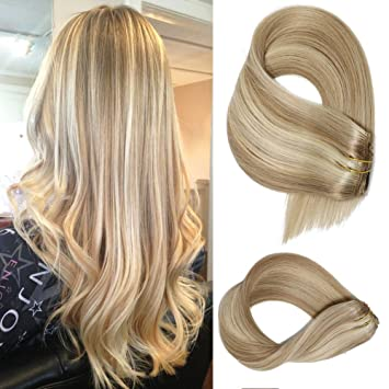 Clip In Extensions Human Hair With Dirty Blonde Highlights 7 Pieces 70 Gram Silky Straight Weft Remy Real