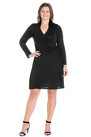 f1025137481 24seven Comfort Apparel Women s Plus Size Long Sleeve V Neck Knee Length  Wrap Dress - Made