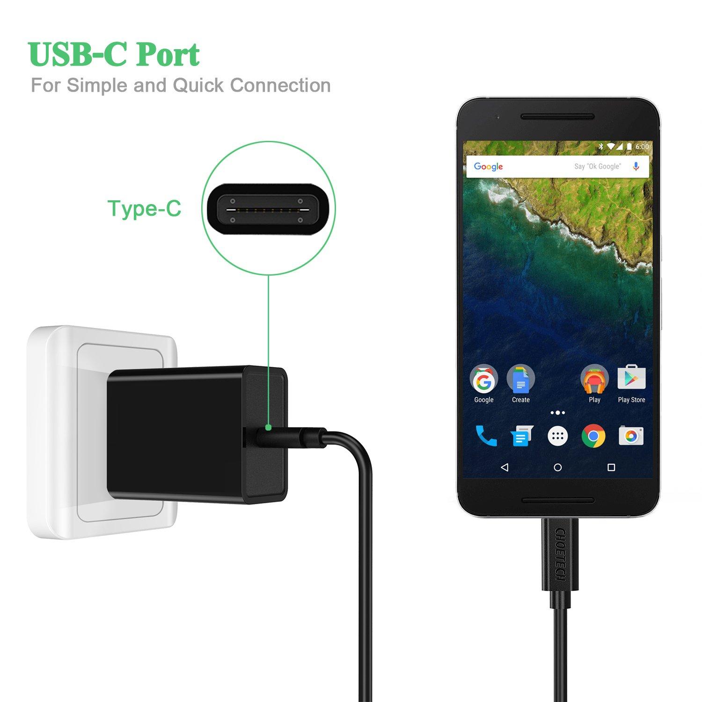Rophie USB Tipo C Cargador 15W 5V / 3A Cargador rápido de Pared para Xiaomi mi5, Nexus 6p, Nexus 5x, HTC M10, Galaxy Note 5, Lumia 950xl Y otros ...